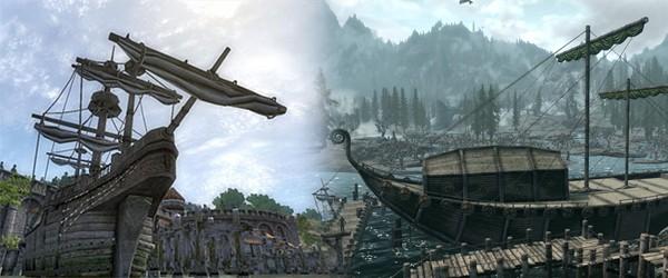 Корабли у Анвила и Солитьюда (Oblivion, Skyrim)