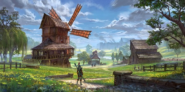 Old Vergil's Mill, with Bravil in the background. I never did manage to sell this one.