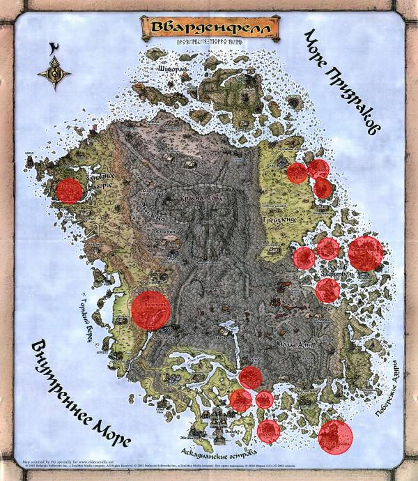 Карта Вварденфела с отмеченными локациями, которые появятся в ESO